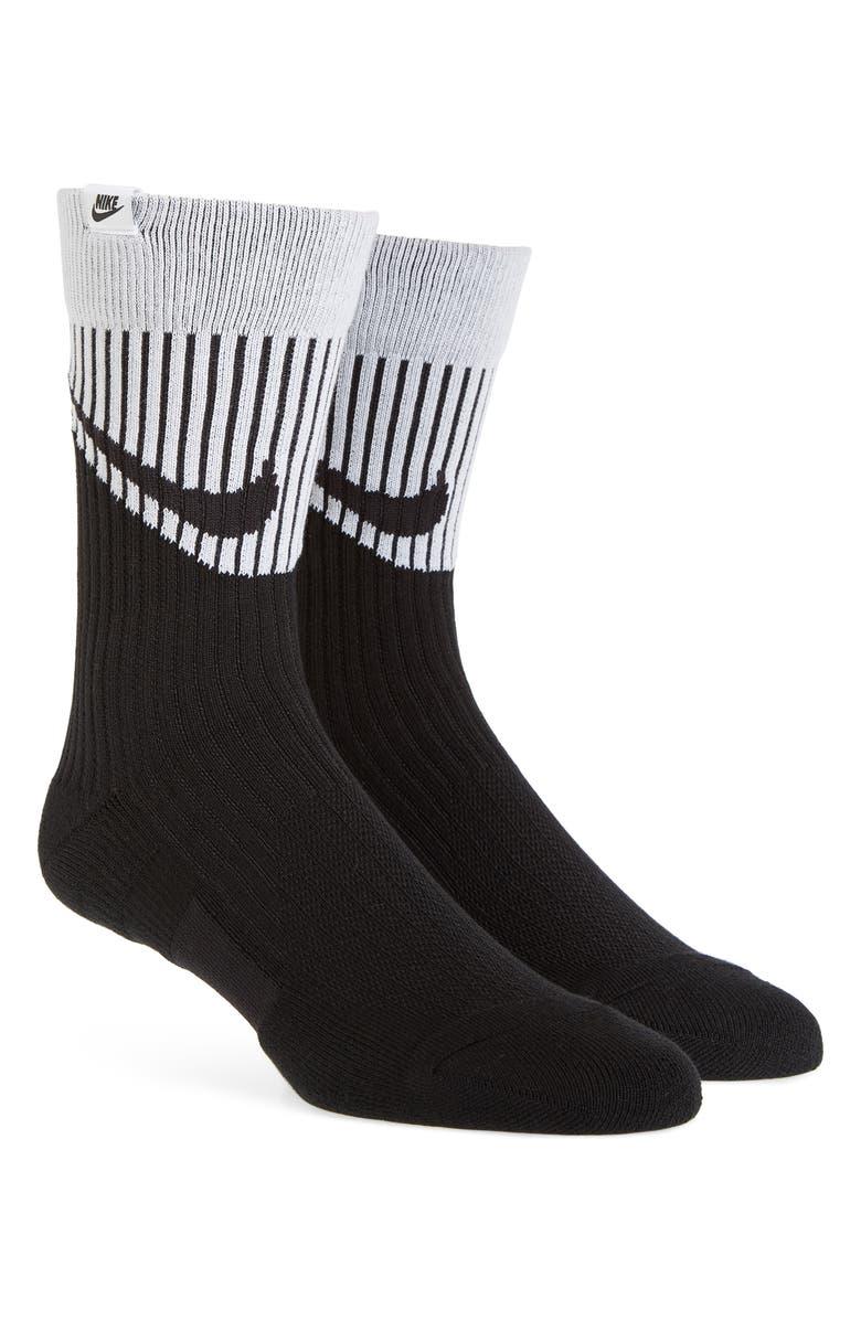 NIKE Crew Socks, Main, color, BLACK/ WHITE/ BLACK
