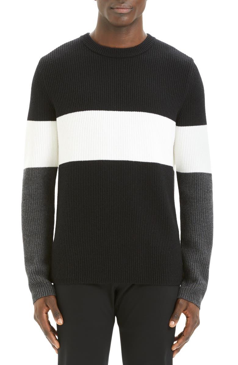 THEORY Zoren Regular Fit Colorblock Cashwool<sup>®</sup> Pullover, Main, color, BLACK MULTI