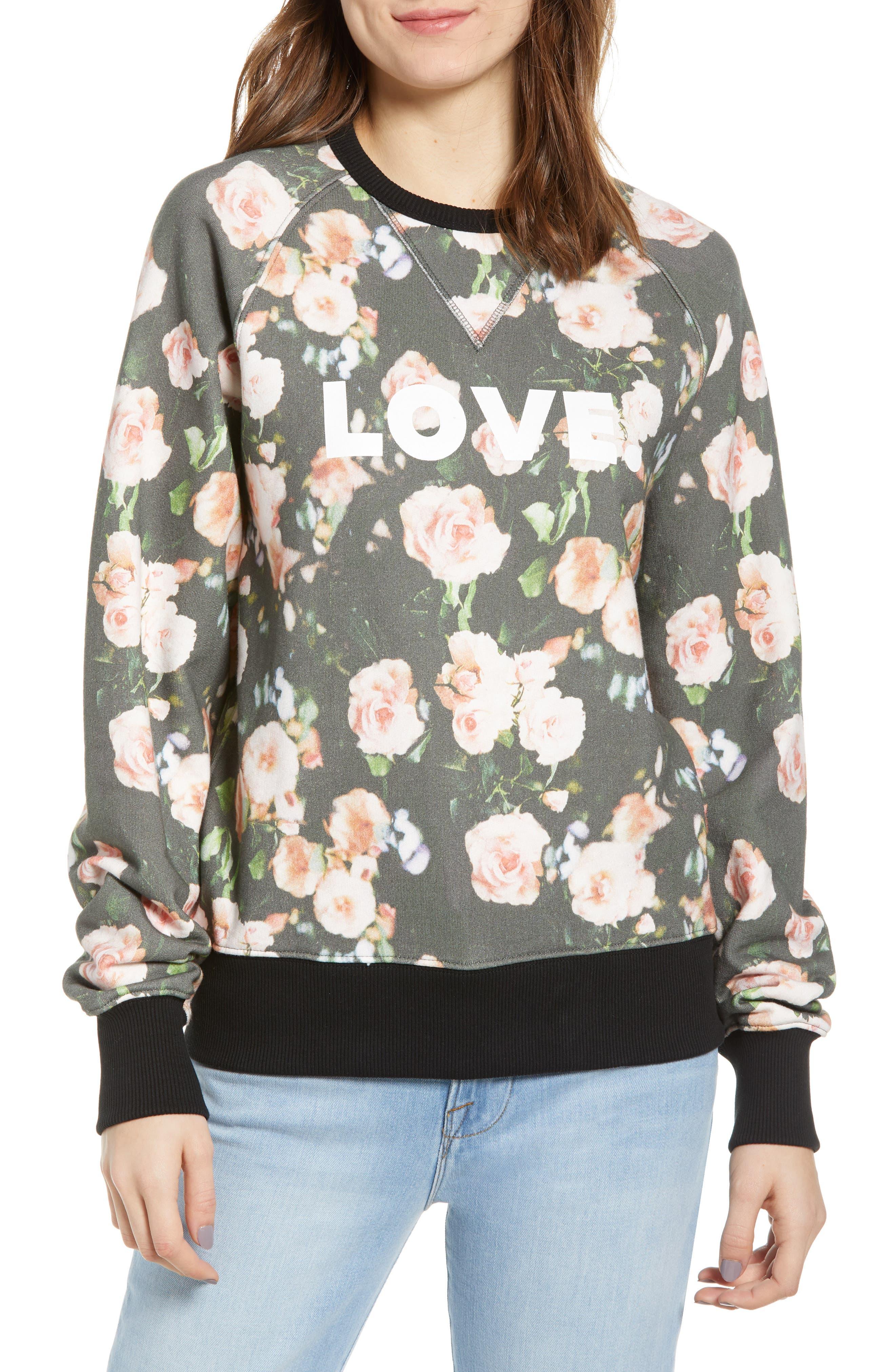 ,                             Love Roses Sweatshirt,                             Main thumbnail 1, color,                             BLACK MULTI