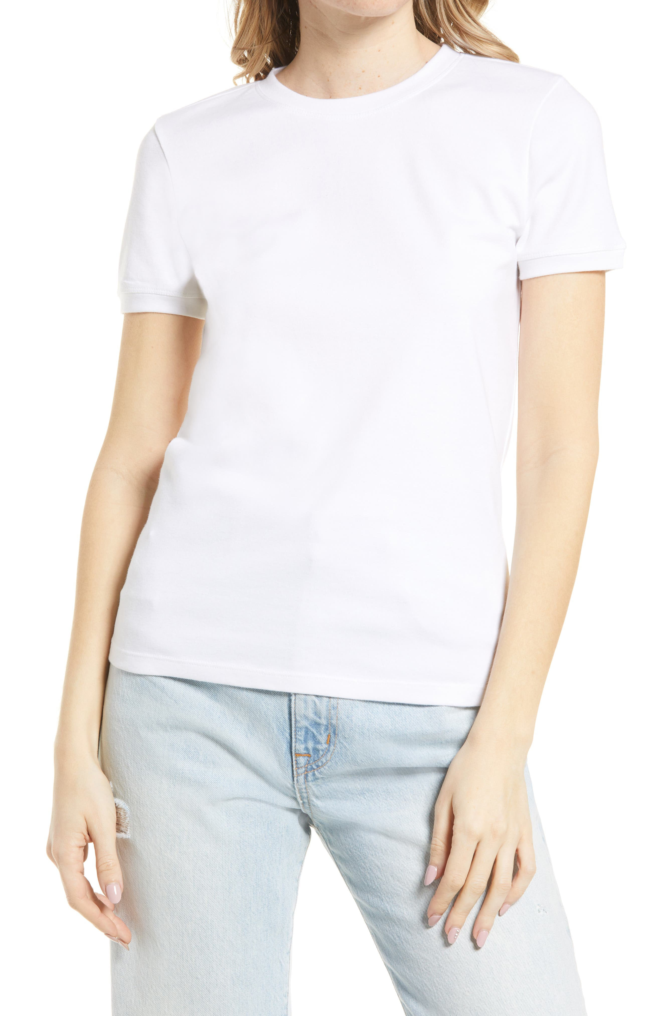 50s Shirts & Tops Womens Treasure  Bond Tonal Ringer T-Shirt Size X-Large - White $29.00 AT vintagedancer.com