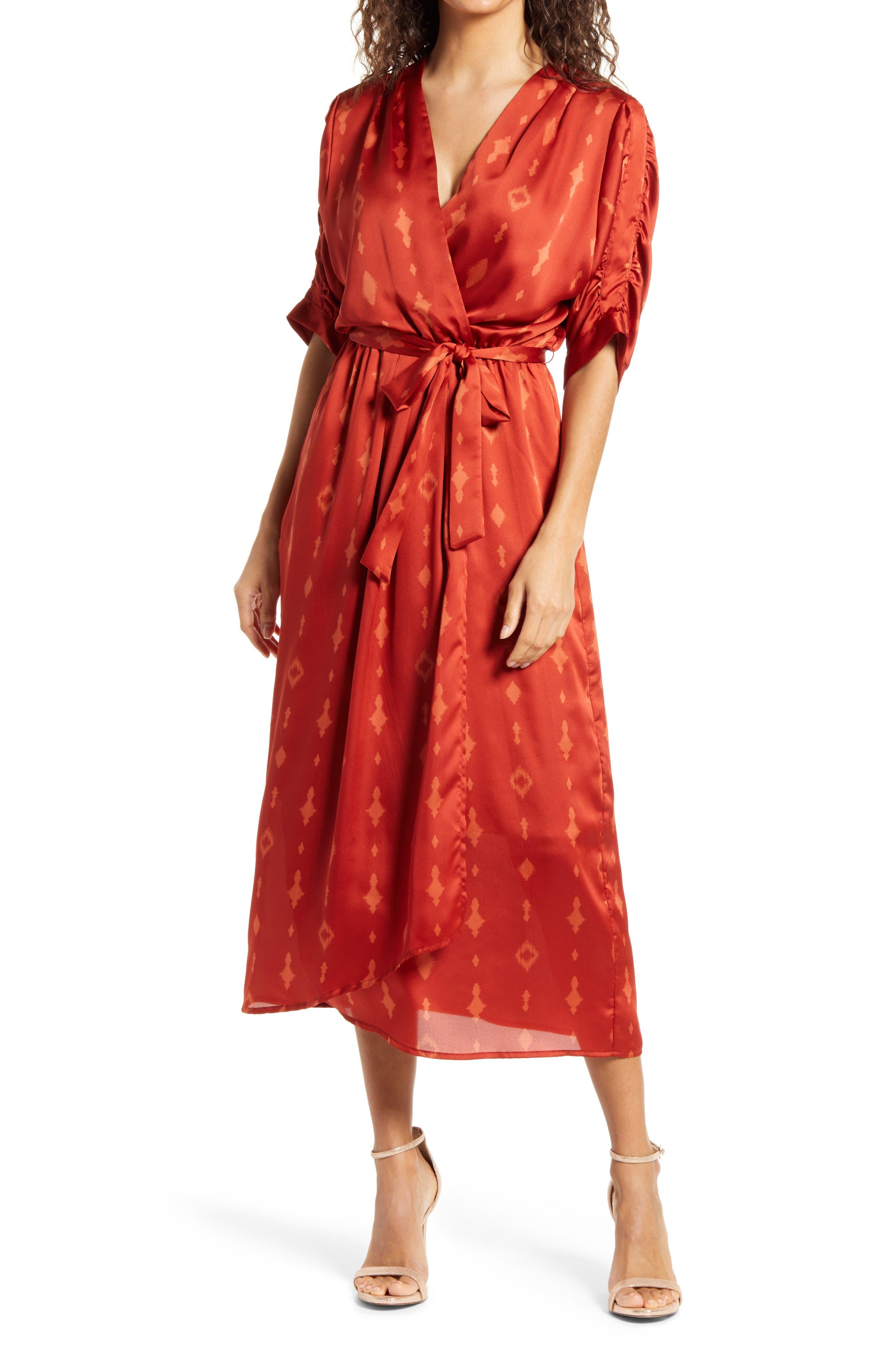 Flutter Faux Wrap Midi Dress