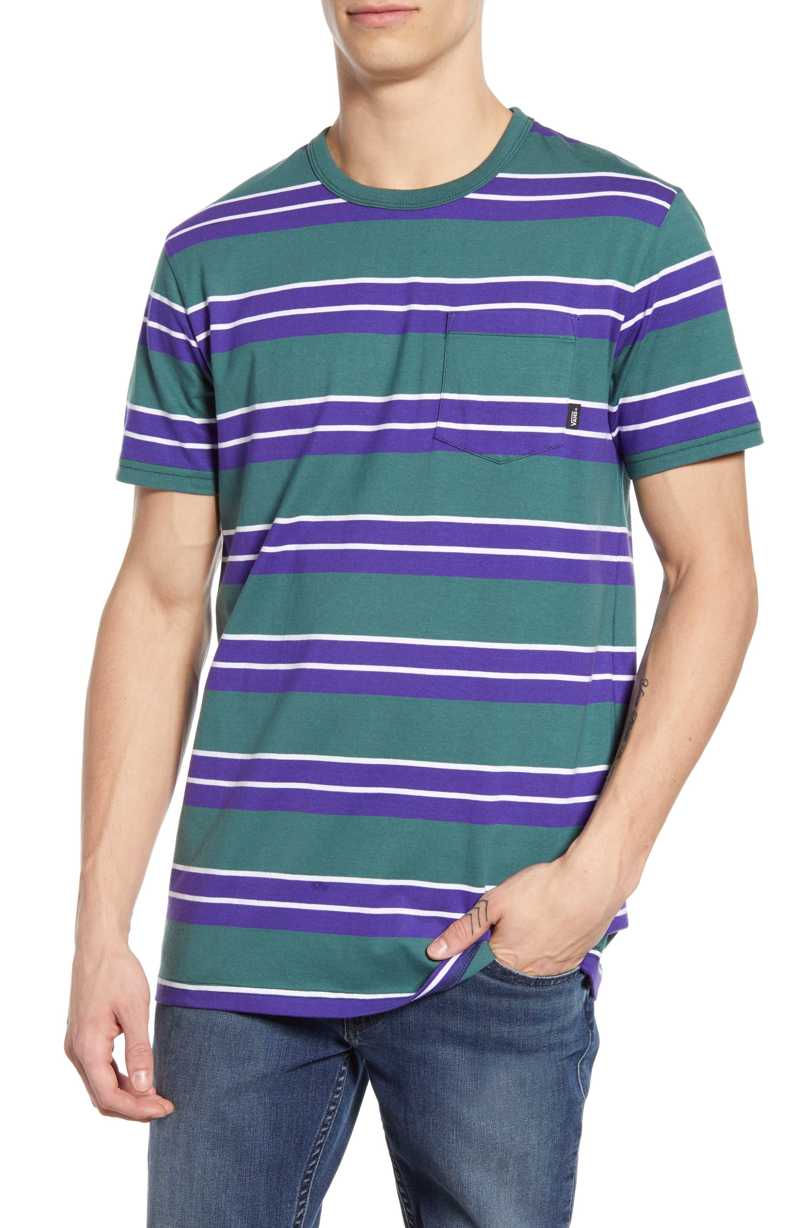 Vans Continental Stripe T-Shirt, Green