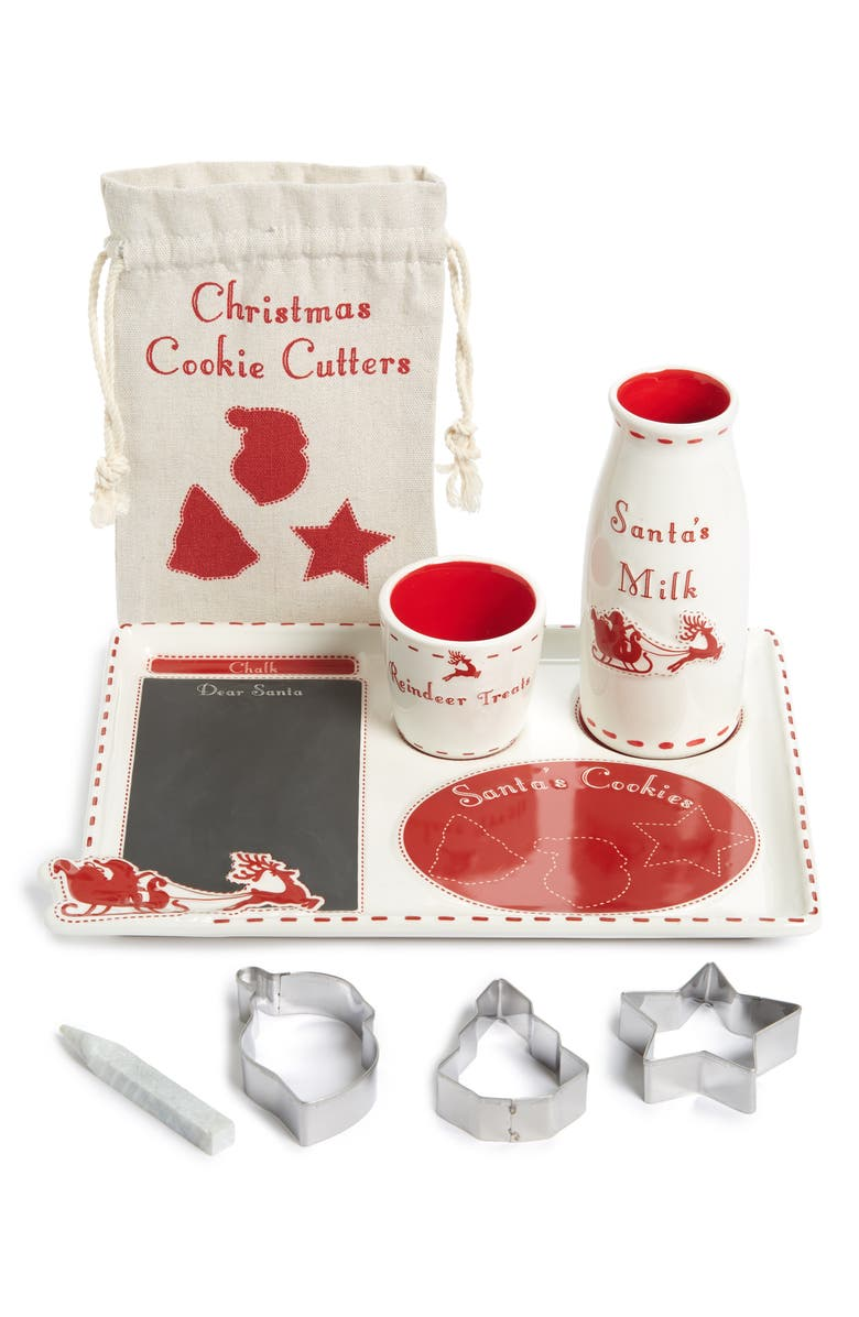 CHILD TO CHERISH Santa's Milk & Cookies Set, Main, color, RED