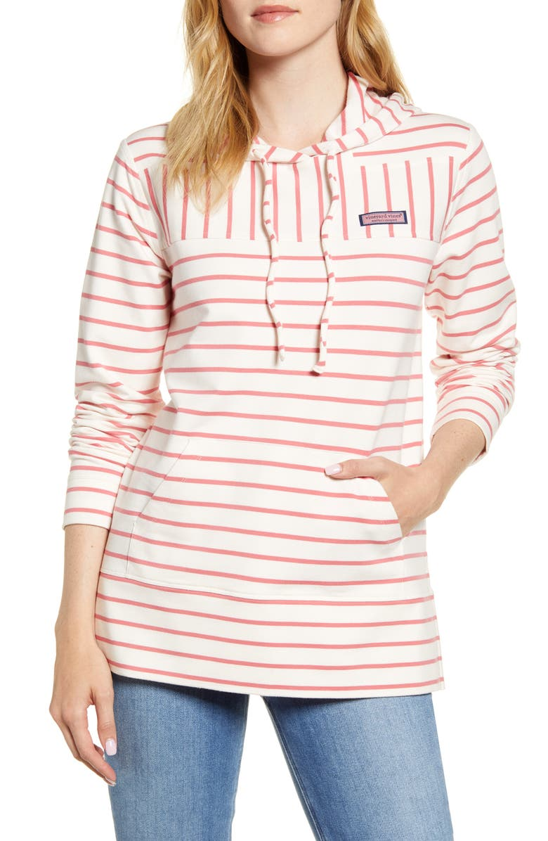 VINEYARD VINES Stripe Relaxed Fit Shep Hoodie, Main, color, BREAK STRIPE - MARSHMALLOW