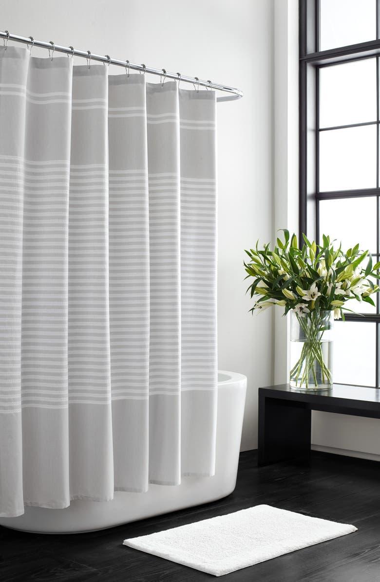 VERA WANG Seersucker Stripe Shower Curtain, Main, color, AQUARMARINE/ WHITE
