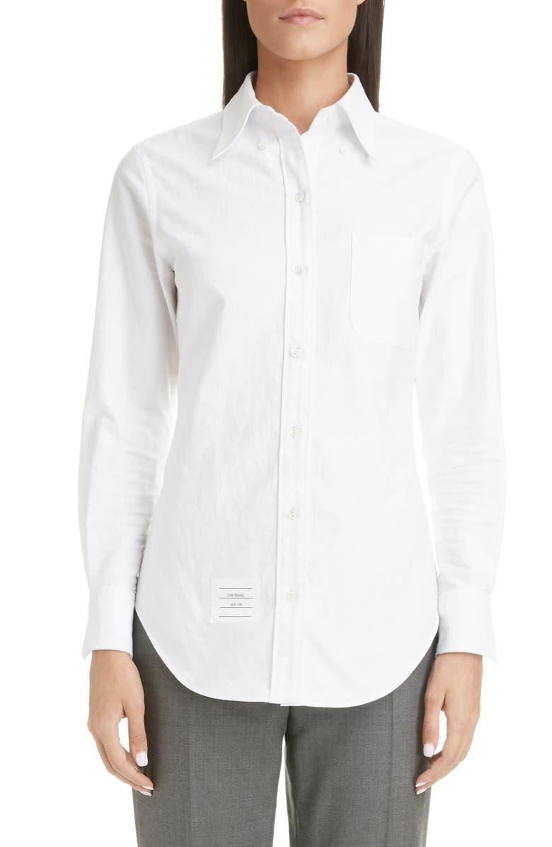 THOM BROWNE Cotton Shirt, Main, color, WHITE