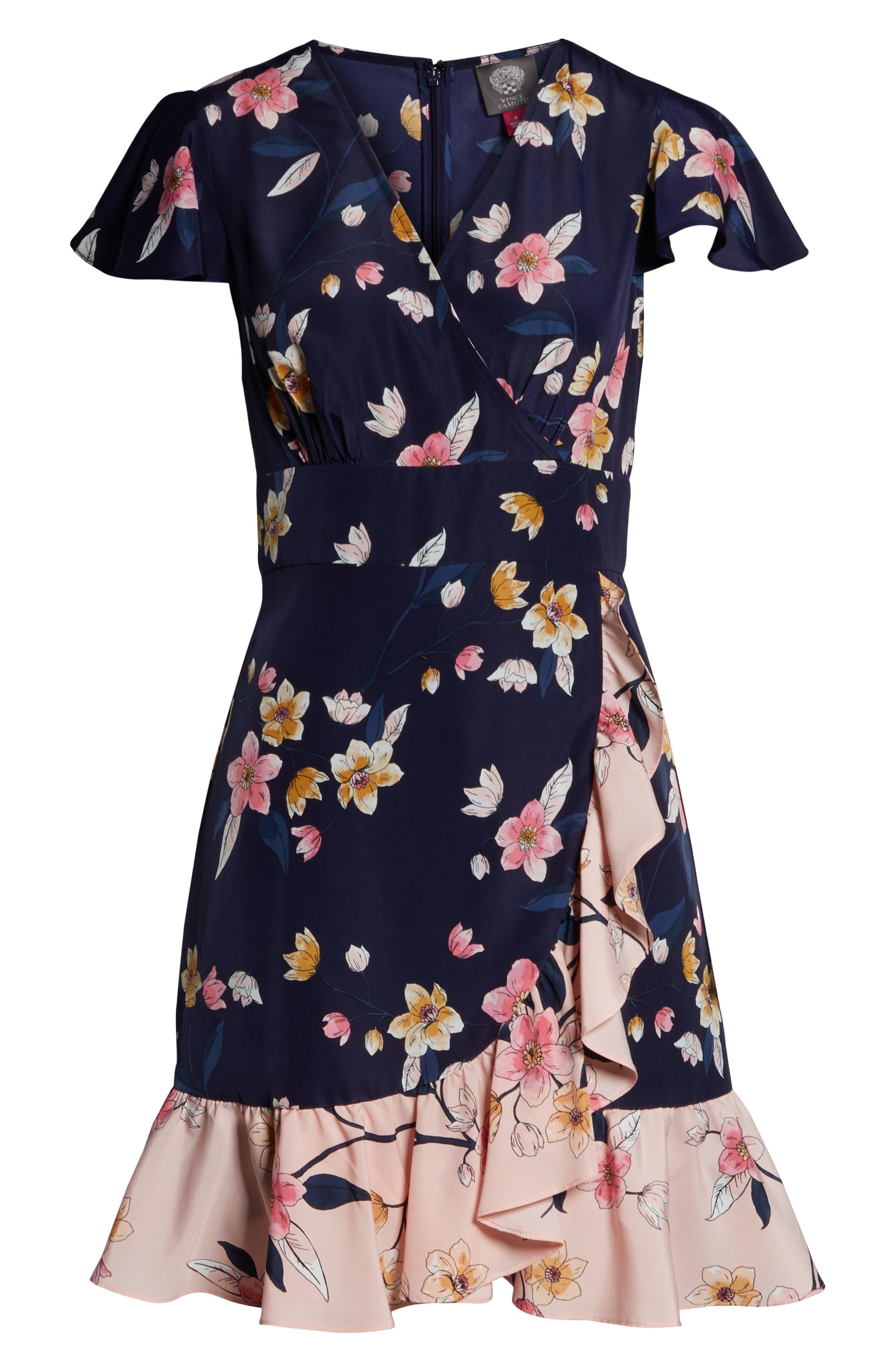 ,                             Ruffle Faux Wrap Dress,                             Alternate thumbnail 7, color,                             NAVY/ MULTI