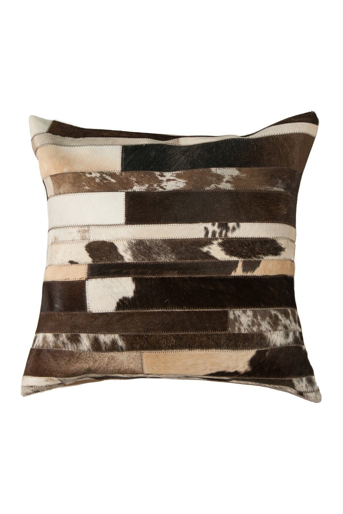 "Image of Natural Torino Classic Large Madrid Genuine Cowhide Pillow - 22""x22"" - Chocolate/White"