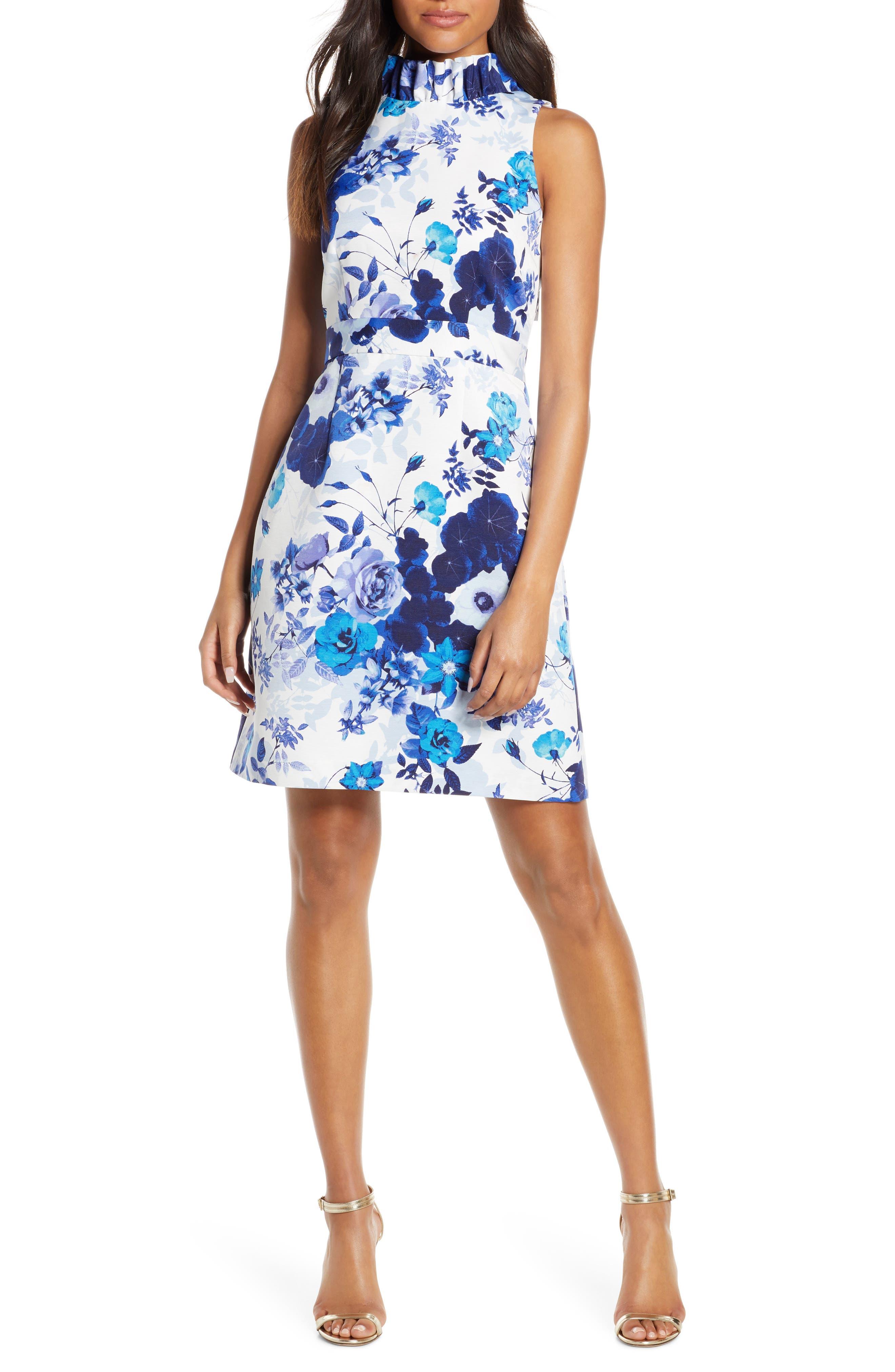 Eliza J Floral Print Ruffle Sheath Dress, Blue
