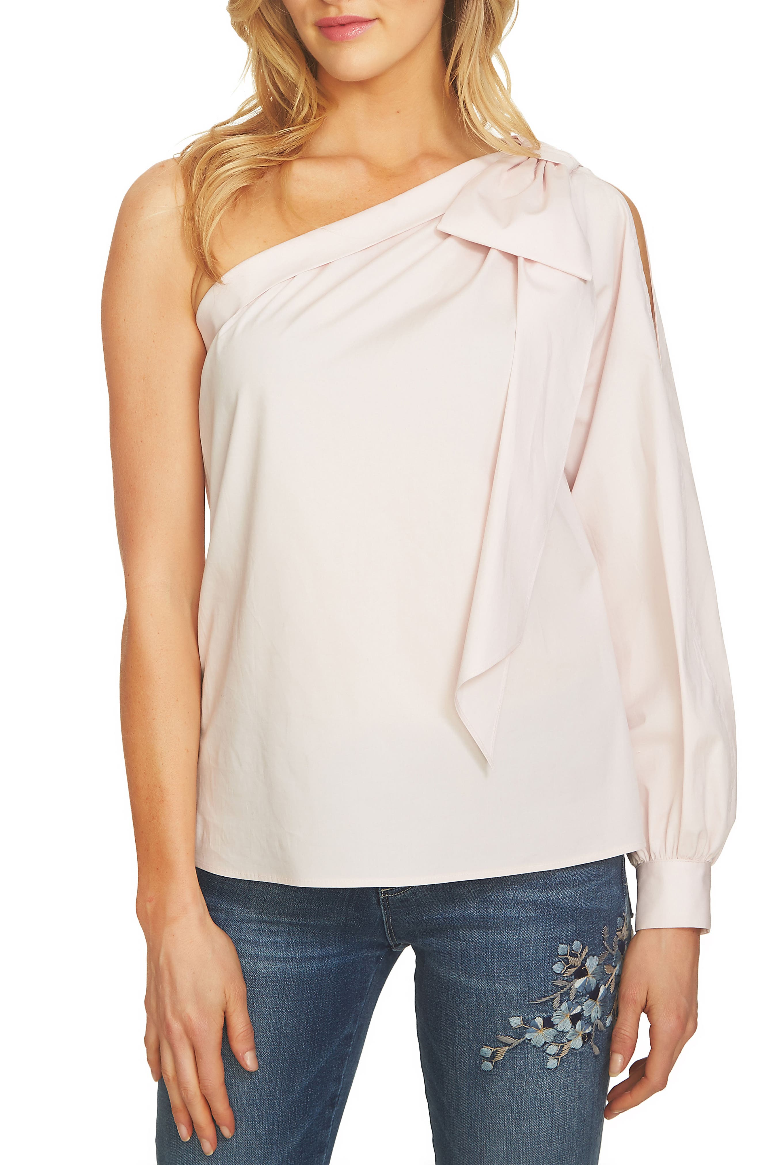 Image of CeCe by Cynthia Steffe One-Shoulder Poplin Bow Blouse