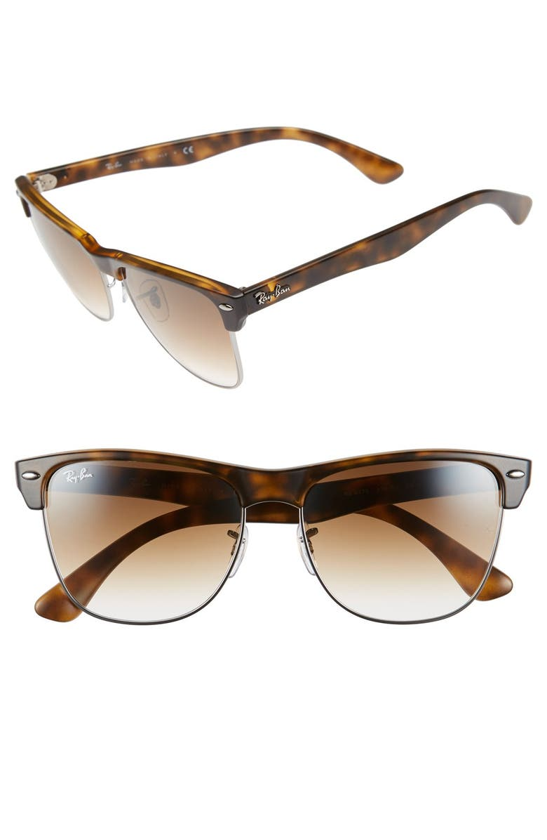 RAY-BAN 'Clubmaster' 57mm Sunglasses, Main, color, MATTE HAVANA/ BROWN GRADIENT