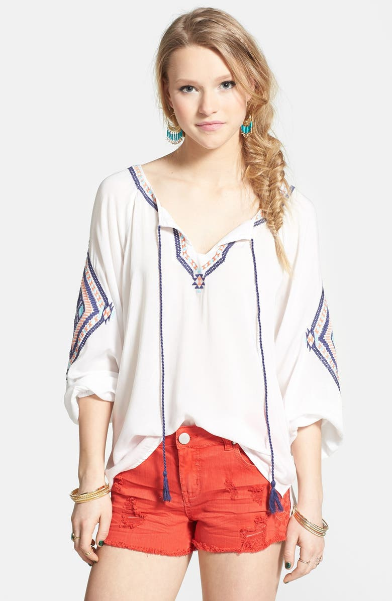 ANGIE Embroidered Peasant Top, Main, color, 100