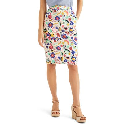 Boden Gabriella Stretch Cotton Pencil Skirt, Yellow