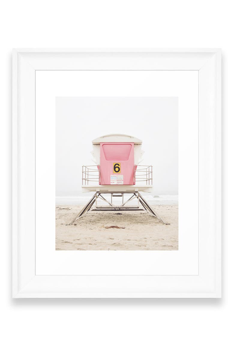 DENY DESIGNS Pink Tower Art Print, Main, color, WHITE FRAME- 24X36
