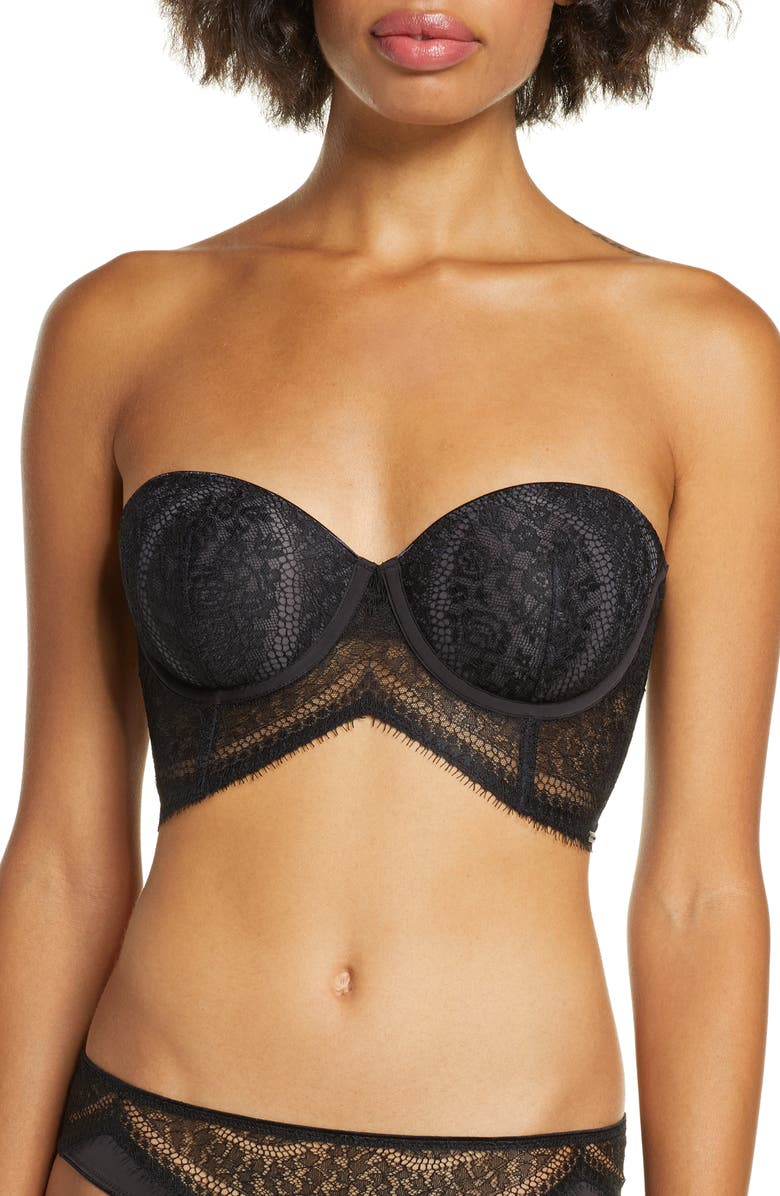 CALVIN KLEIN Strapless Underwire Bra, Main, color, BLACK