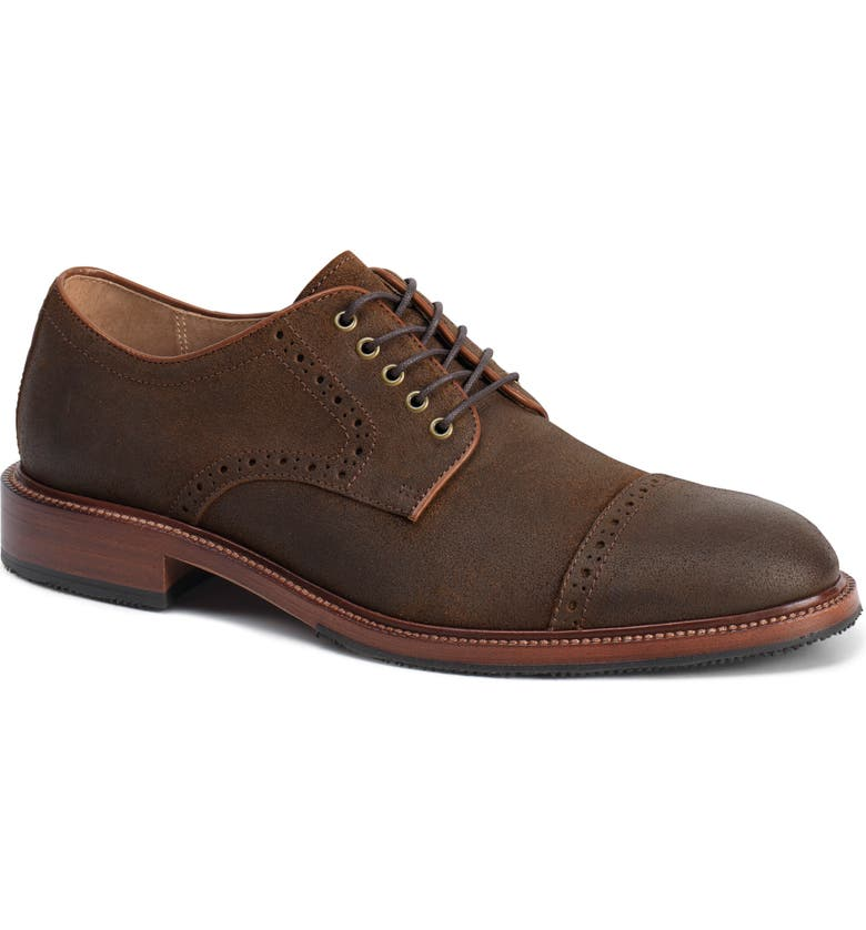 TRASK Linwood Cap Toe Derby, Main, color, BROWN WAXED SUEDE