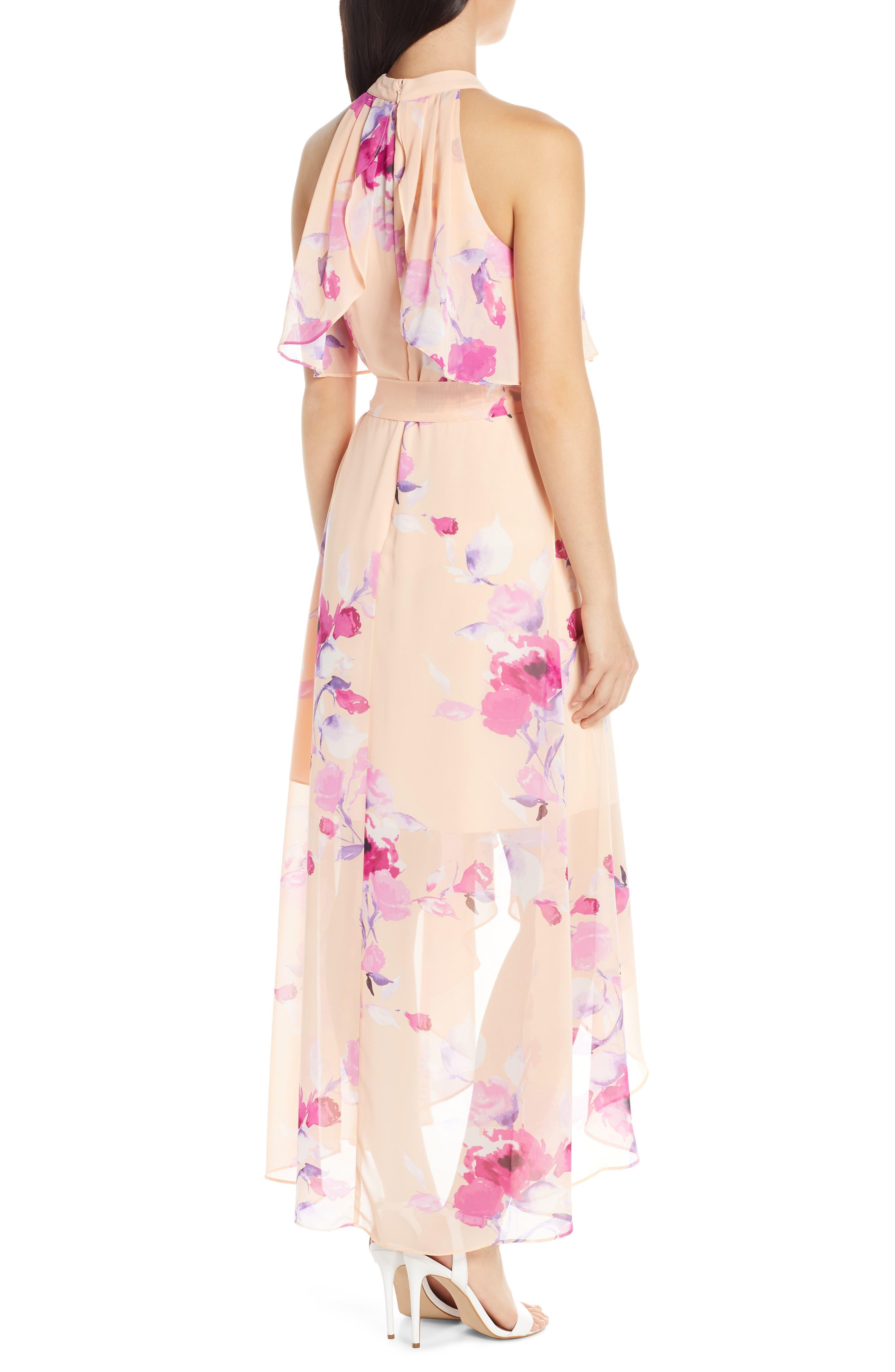 ,                             Halter High/Low Midi Dress,                             Alternate thumbnail 2, color,                             BLUSH