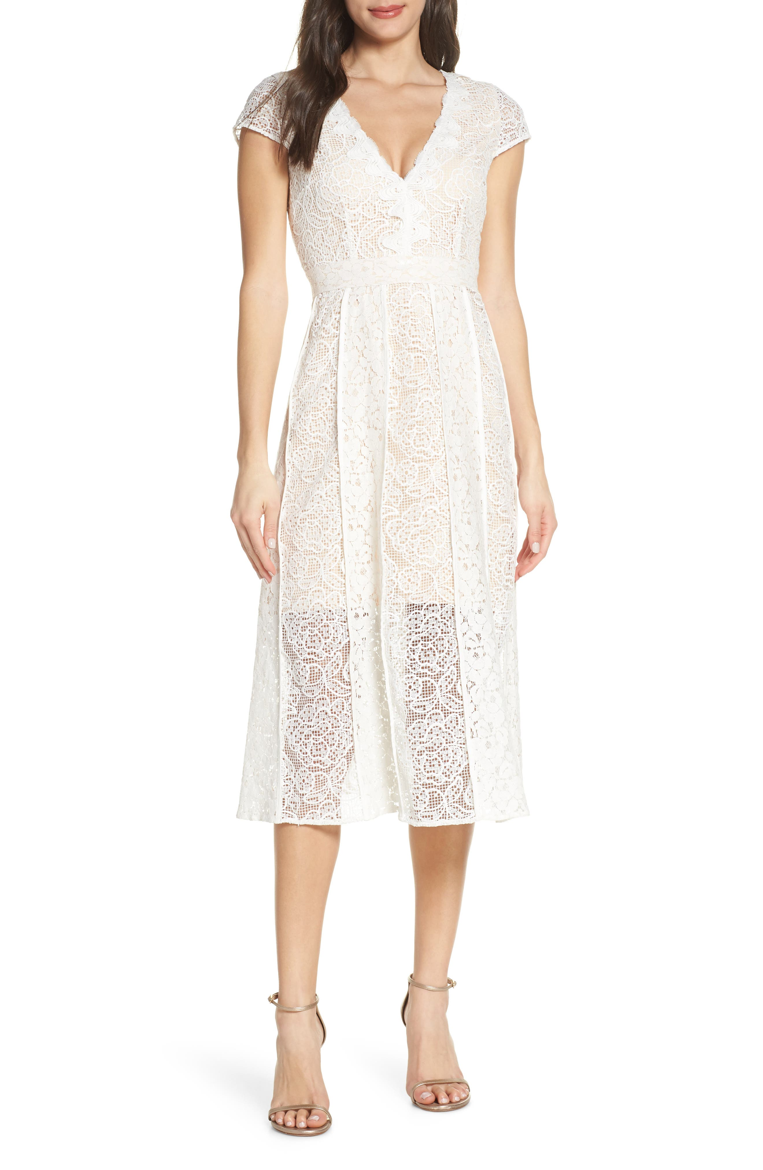 Foxiedox Edith Floral Lace Cocktail Dress, Ivory