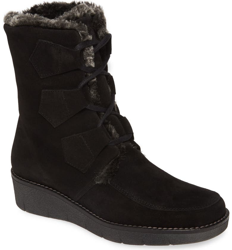 TONI PONS Ador Faux Fur Lined Bootie, Main, color, BLACK SUEDE