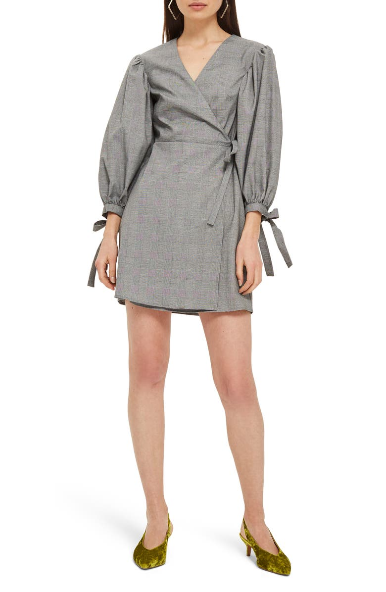TOPSHOP Tie Cuff Wrap Minidress, Main, color, 020