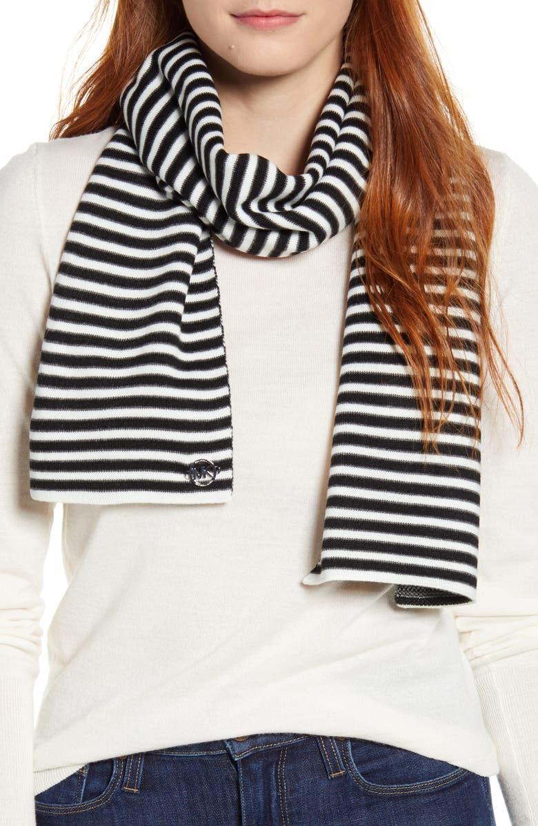 MICHAEL MICHAEL KORS Mini Ribbon Stripe Knit Scarf, Main, color, BLACK