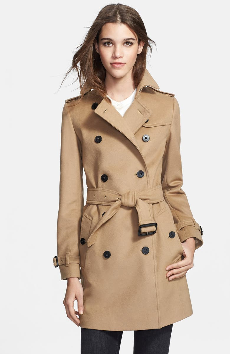 BURBERRY LONDON Double Breasted Wool & Cashmere Trench, Main, color, 250