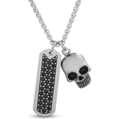 Steve Madden Cry Bar & Skull Pendant Necklace