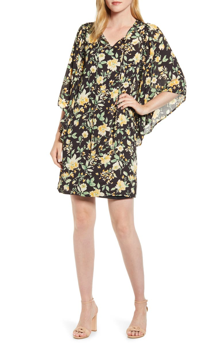 BOBEAU Morna Ruffle Sleeve Shift Dress, Main, color, YELLOW FLORAL