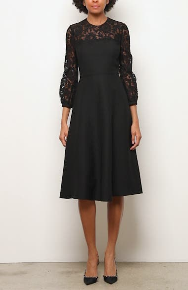 Lace Contrast Wool & Silk Midi Dress, video thumbnail