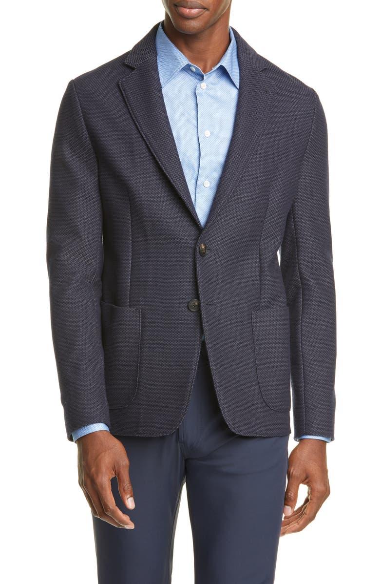 EMPORIO ARMANI Trim Fit Wool Blend Sport Coat, Main, color, BLUE