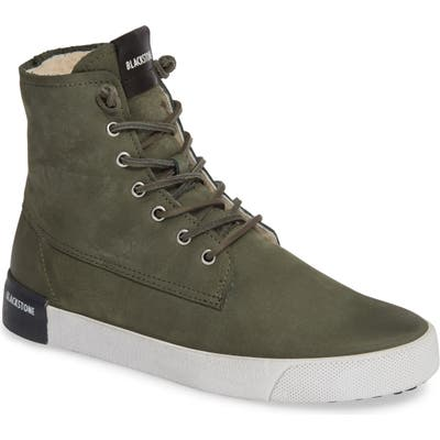 Blackstone Ql41 High Top Sneaker With Genuine Shearling Lining, Green