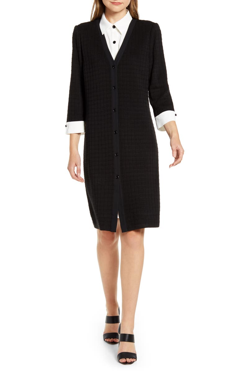 MING WANG Layered Look Sweater Dress, Main, color, BLACK/ WHITE