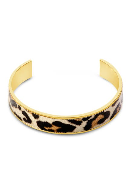 Image of Sterling Forever 14K Gold Plated Brass Leopard Open Cuff Bracelet
