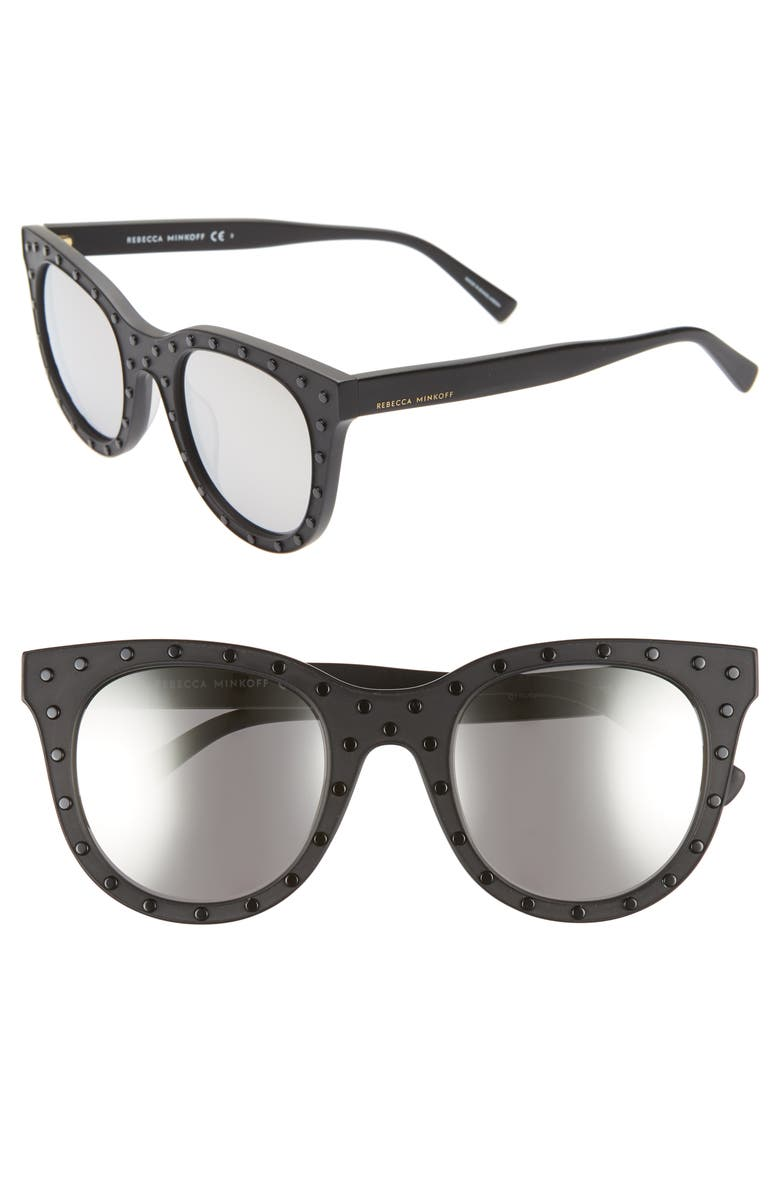 REBECCA MINKOFF Cyndi2 50mm Studded Sunglasses, Main, color, 001