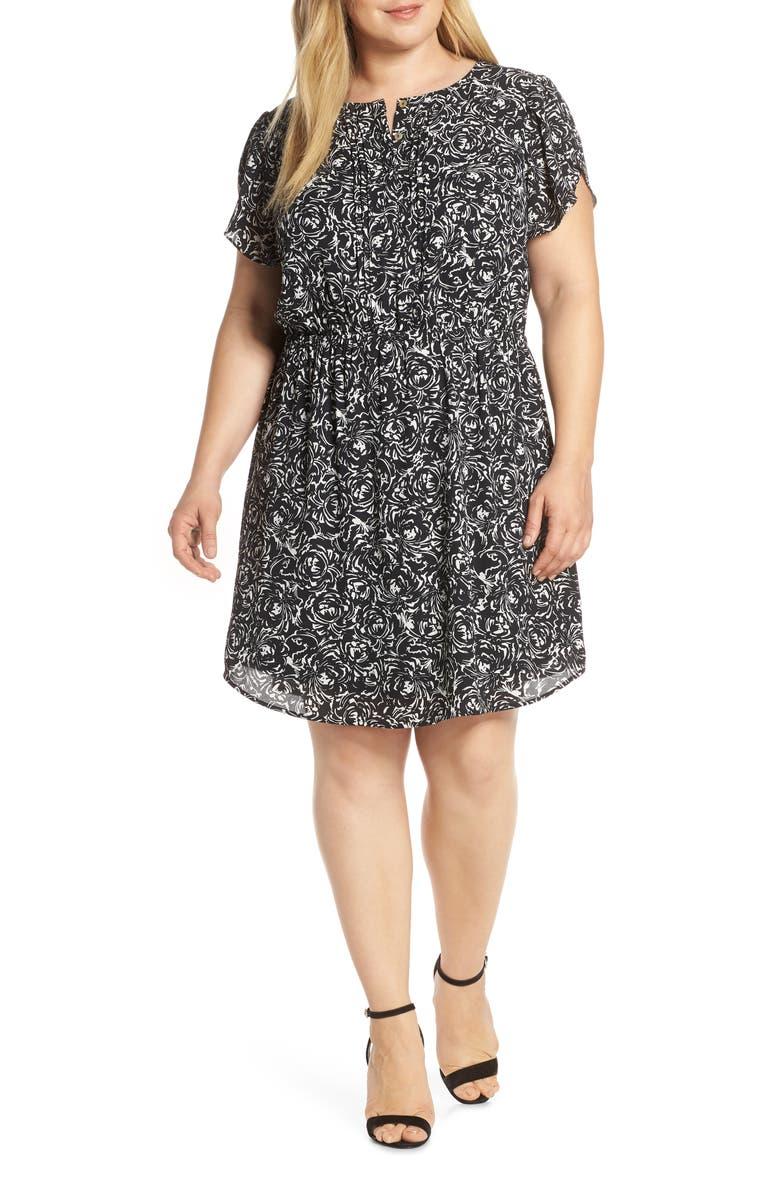 DANIEL RAINN Print Pleat Front Dress, Main, color, F884 BLACK