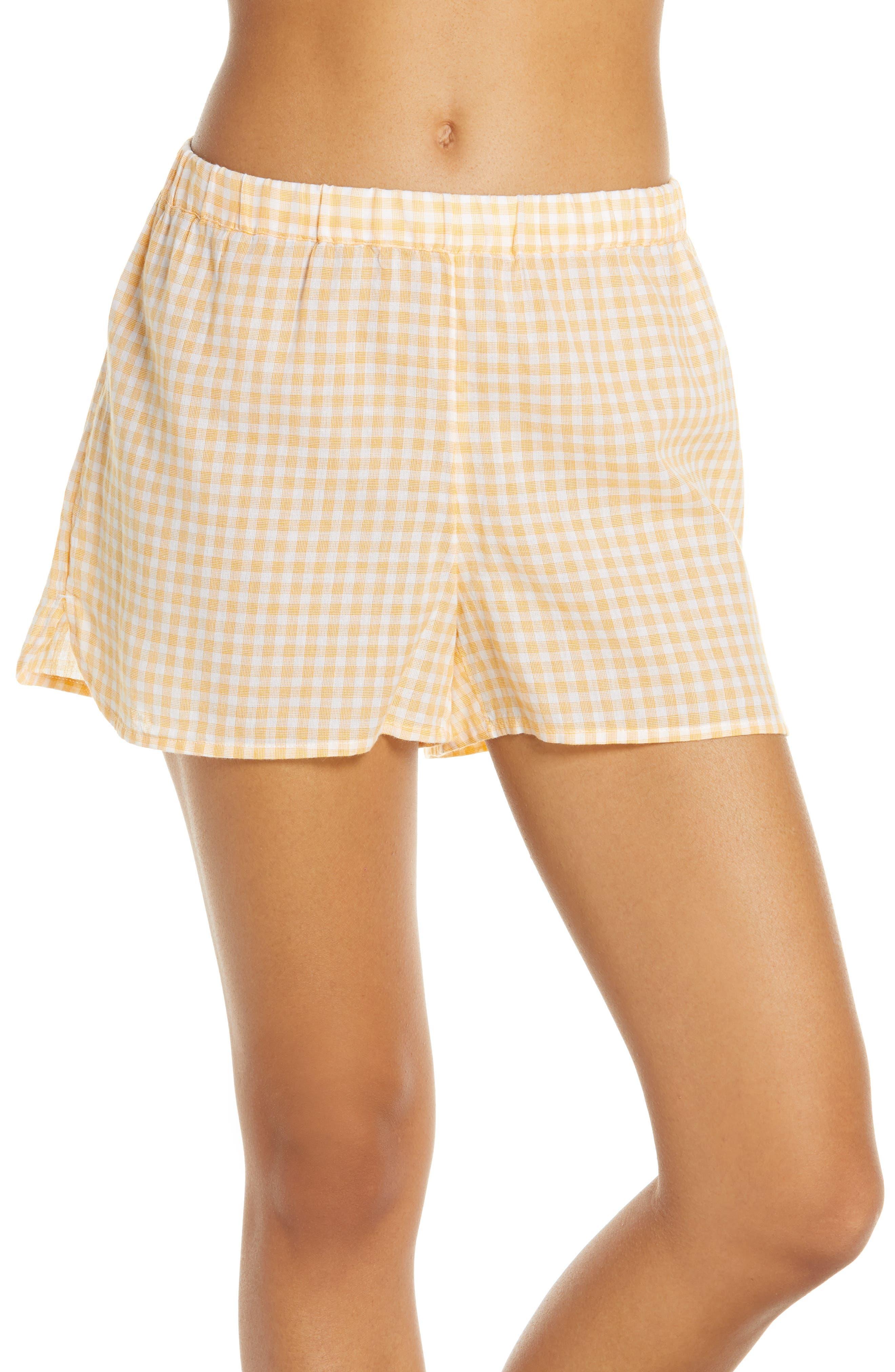 Plus Size Madwell Saffron Gingham Bedtime Gingham Pajama Shorts, Size - Yellow