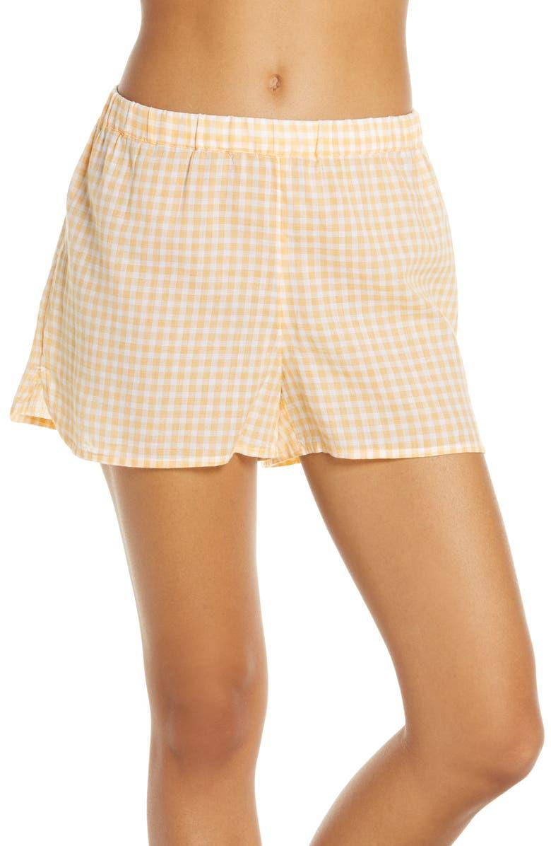 MADEWELL Saffron Gingham Bedtime Gingham Pajama Shorts, Main, color, BESSY GINGHAM TURKISH