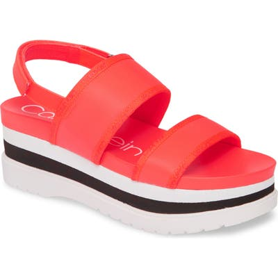 Calvin Klein Nola Logo Slingback Platform Sandal, Pink