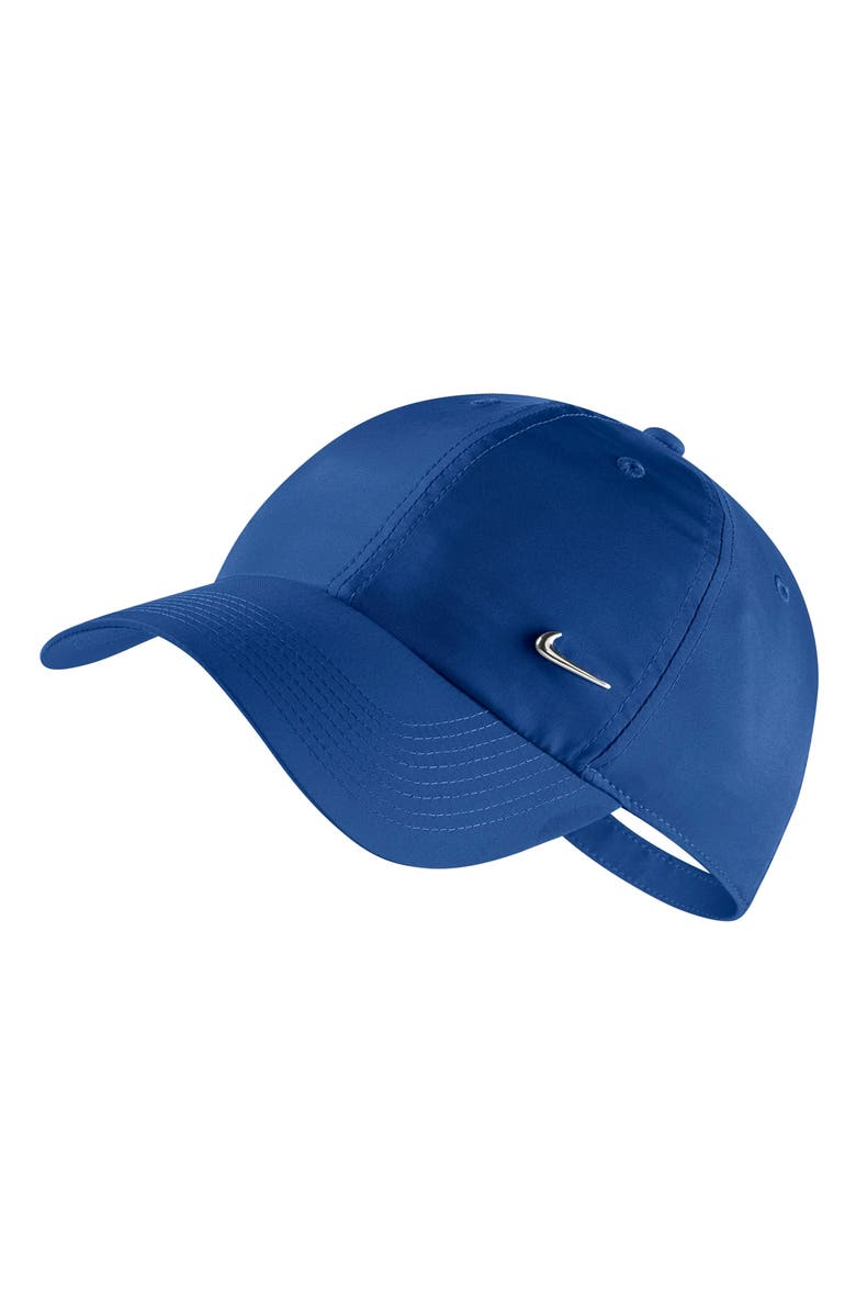 NIKE Metal Swoosh Baseball Cap, Main, color, INDIGO FORCE/ METALLIC SILVER