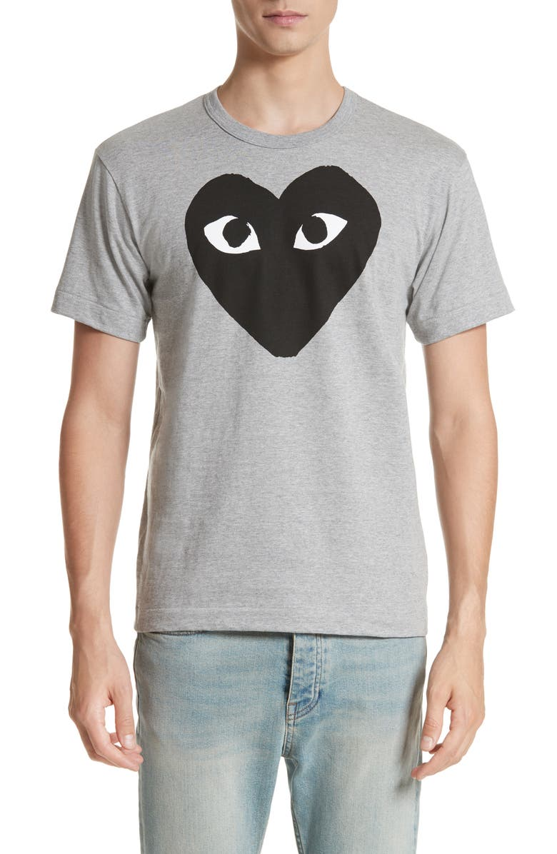 COMME DES GARÇONS PLAY Logo Slim Fit Graphic Crewneck T-Shirt, Main, color, TOP DYED GRAY