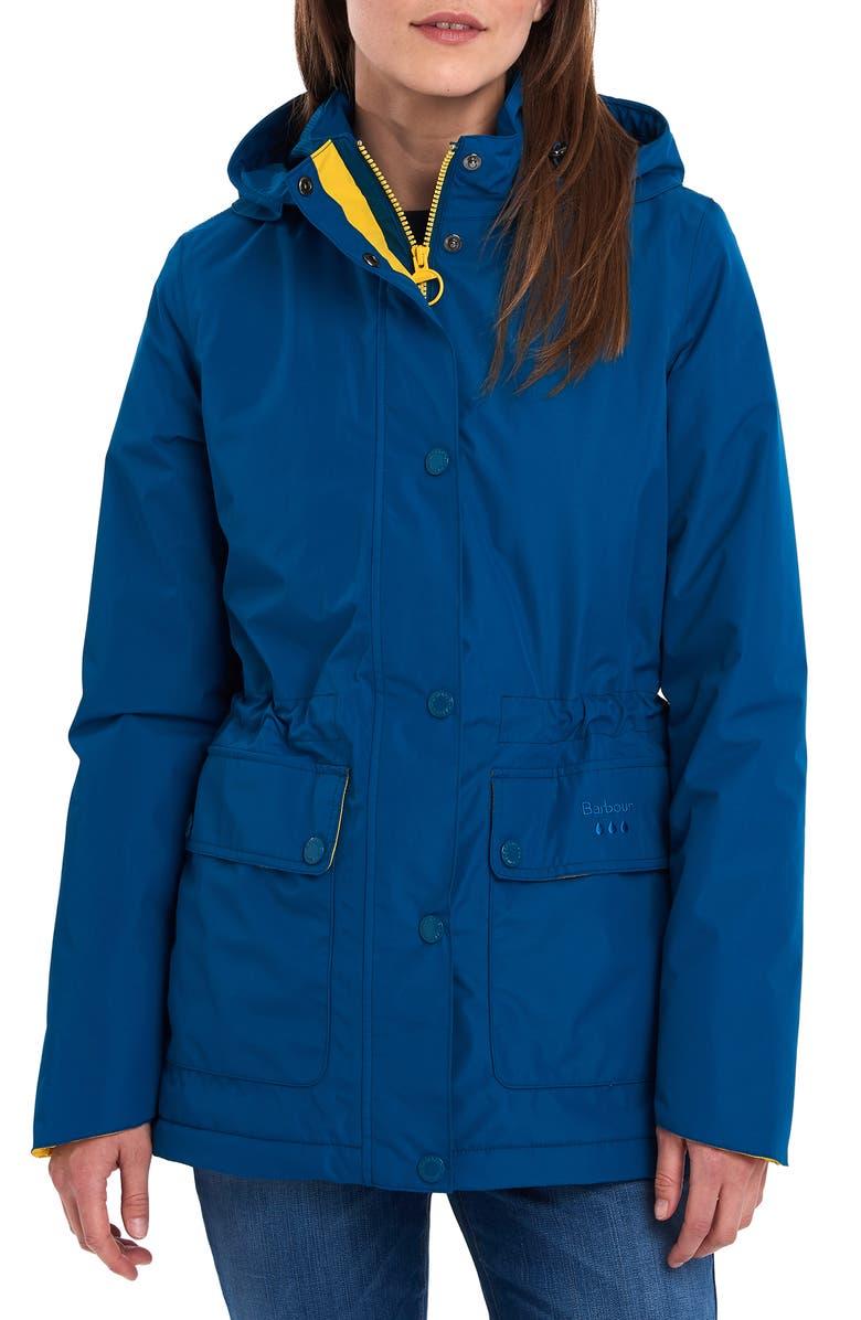 BARBOUR Crest Waterproof Raincoat, Main, color, TIDE BLUE