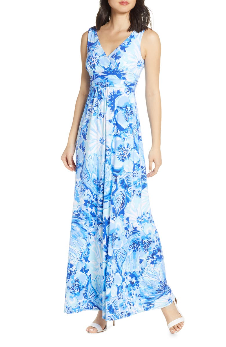 LILLY PULITZER<SUP>®</SUP> Sloane Floral Print Maxi Dress, Main, color, COASTAL BLUE CATCH N KEEP