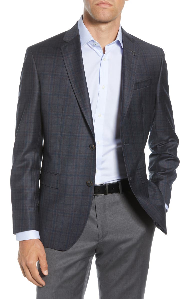 TED BAKER LONDON Jay Trim Fit Plaid Sport Coat, Main, color, BLUE