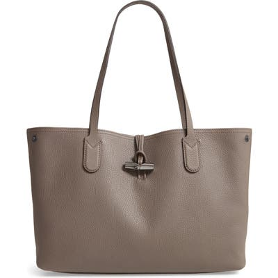 Longchamp Roseau Essential Mid Leather Tote - Grey
