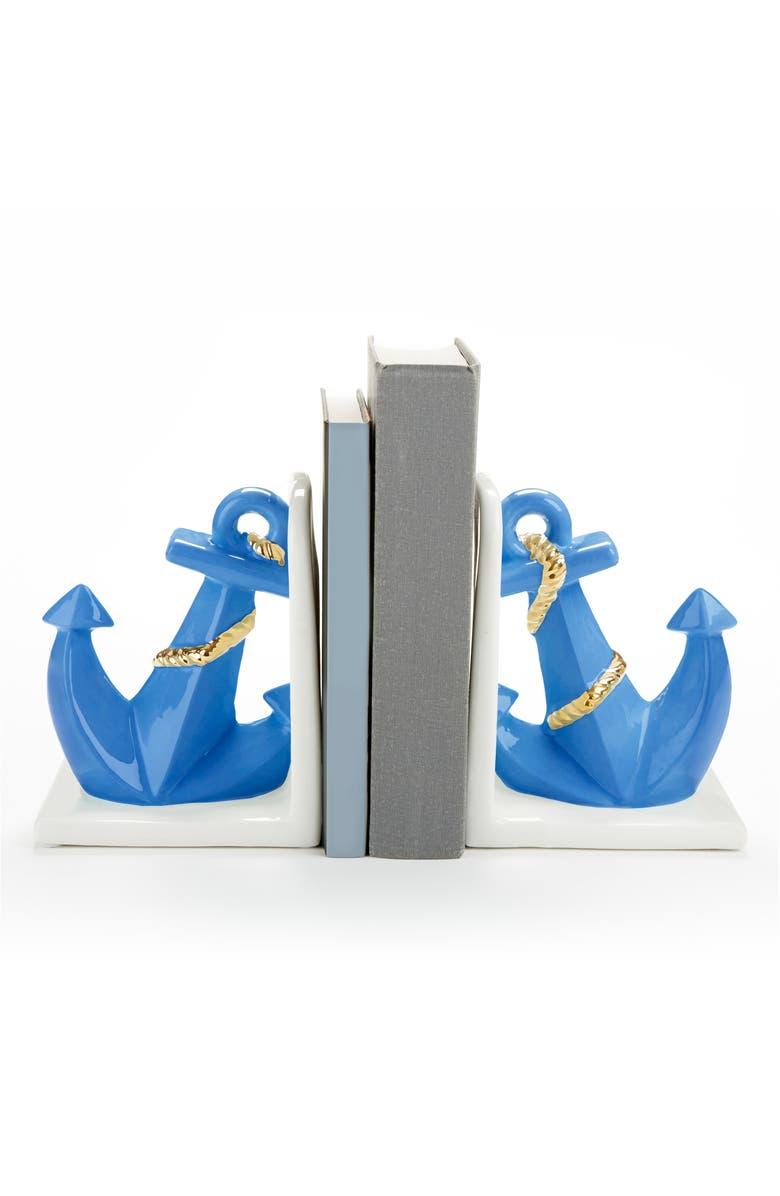 BABY ASPEN Set of 2 Ceramic Anchor Bookends, Main, color, WHITE/ LIGHT BLUE/ GREY