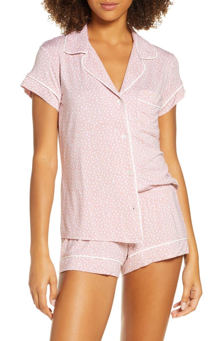 EBERJEY Sleep Chic Short Pajamas, Main, color, FELIX MISTY ROSE/IVORY