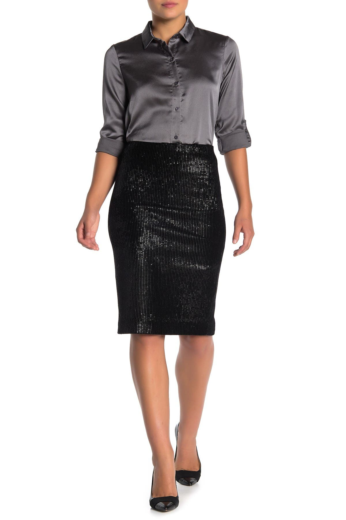 Image of Everleigh Sequin Velour Knee-Length Skirt