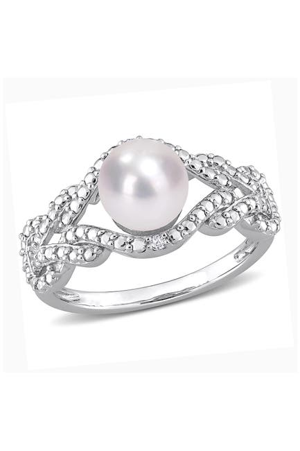 Image of Delmar Sterling Silver 7.5mm Cultured Freshwater Pearl & Diamond Ring - 0.02 ctw