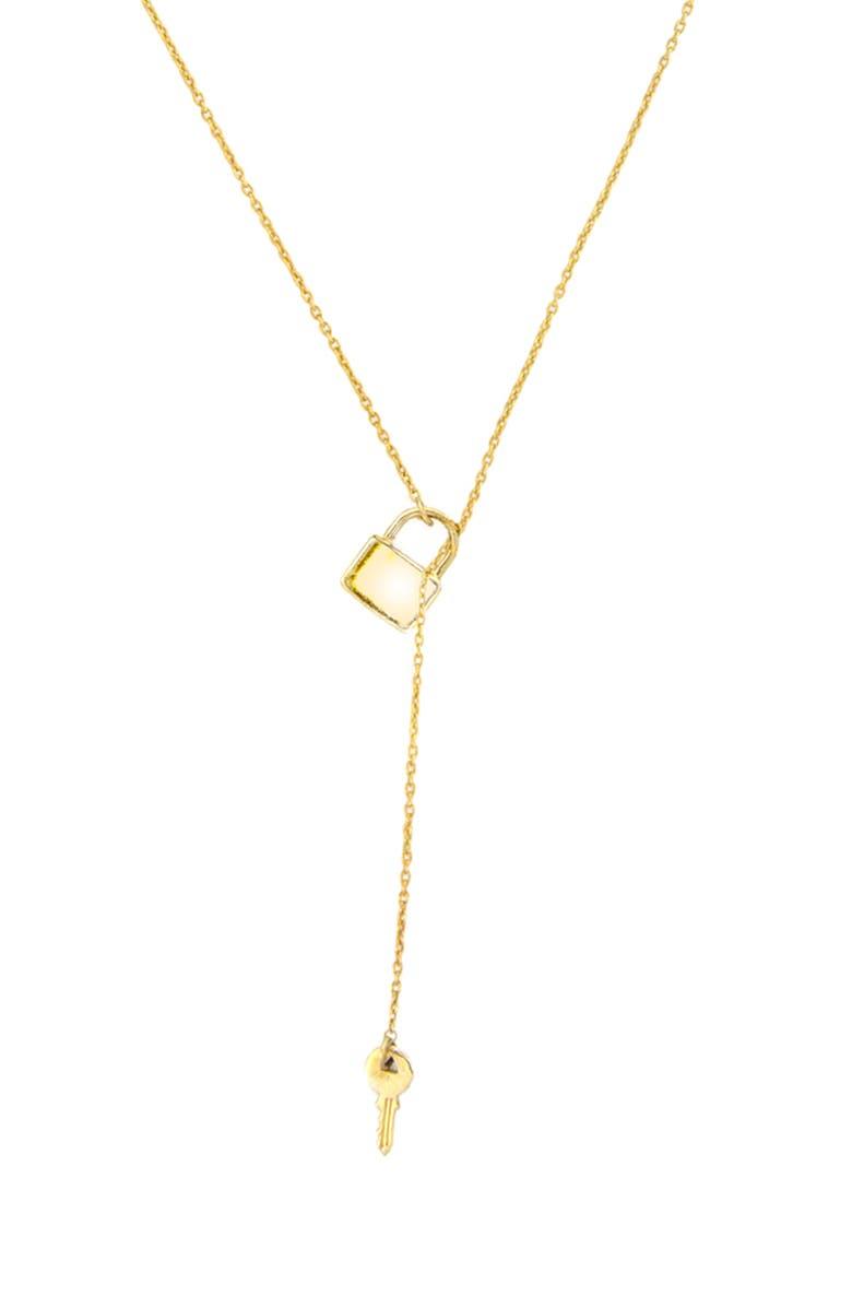 ADORNIA Lock & Key Lariat Necklace, Main, color, METALLIC GOLD