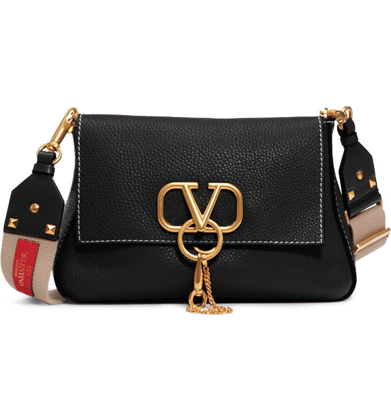 VALENTINO GARAVANI Small V-Ring Leather Shoulder Bag, Main, color, NERO/ NATURALE